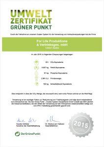 Umweltzertifikat Grüner Punkt 2015 Screenshot