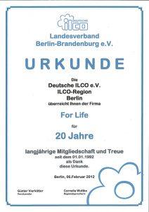 Deutsche ILCO e.V. Urkunde 20 Jahre Mitgliedschaft Screenshot